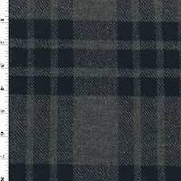 *3 YD PC--Midnight Navy/Gray Wool Blend Plaid Twill Jacketing