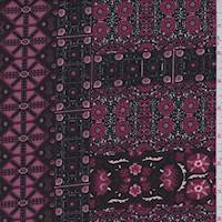 *1 3/8 YD PC--Burgundy Decor Block ITY Jersey Knit