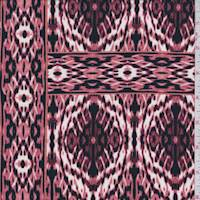 *1 3/8 YD PC--Clay Pink Ikat Tile ITY Jersey Knit