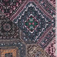 *1 3/8 YD PC--Midnight Blue Multi Tile ITY Jersey Knit