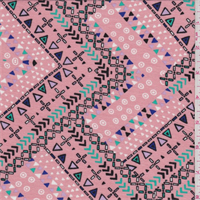 *1 3/8 YD PC--Pink Multi Block Print Rayon Jersey Knit