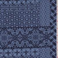 *3 1/2 YD PC--Coronet Blue Decor Brick ITY Jersey Knit