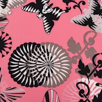 *2 1/2 YD PC--Pink/Multi Butterfly Floral Print Crepe De Chine