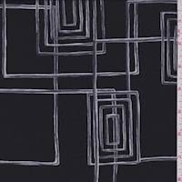 Black/Slate Geometric Silk Georgette