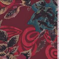 Crimson Multi Floral Silk Georgette