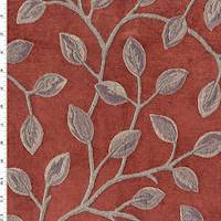 *1 YD PC - Rustic Red/Mauve Leaf Chenille Jacquard Decorating Fabric