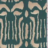 Emerald/Buff Animal Print Silk Georgette