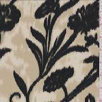 Cream/Black Ikat Floral Silk Georgette