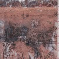 Terra Cotta/Mauve Mottled Silk Georgette