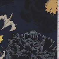 Mallard Blue Modern Floral Silk Georgette