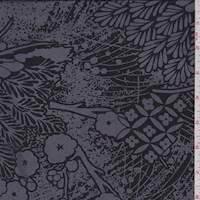 Black/Stone Floral Silk Crepe de Chine