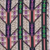 Tan/Coral Tribal Chevron Georgette