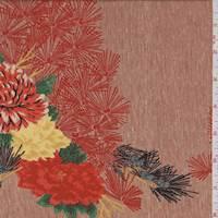 Rust Orange Floral  Silk Pique Crepe