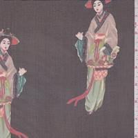 Black Multi Geisha Print Silk Chiffon