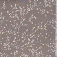 Mocha Mini Floral Sprig Silk Chiffon