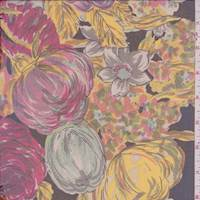Raspberry Pink/Lemon/Black Floral Silk Chiffon