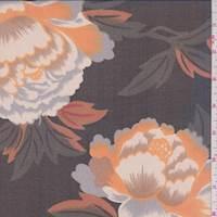 Black/Tangerine Large Floral Silk Chiffon