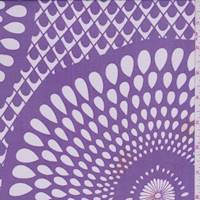 Purple/White Mosaic Silk Crepe de Chine
