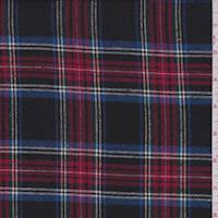 *2 3/4 YD PC--Black Multi Plaid Flannel