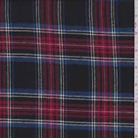 *2 3/4 YD PC--Black Multi Plaid Flannel
