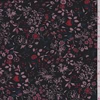 *1 YD PC--Black/Mauve Floral Jersey Knit