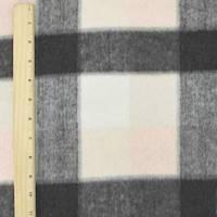 *1 5/8 YD PC--Pastel Pink/Gray/Multi Brush Plaid Jacketing