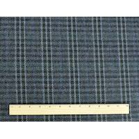 *3/4 YD PC--Navy Blue/Green/Multi Wool Blend Plaid Jacketing