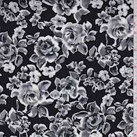 *2 5/8 YD PC--Black/Grey Rose Floral Rayon Challis