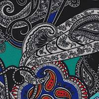 *2 1/4 YD PC--Black Multi Paisley Textured Liverpool Knit