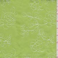 Bright Lime Embroidered Floral Sateen