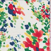 *2 1/2 YD PC--White Multi Mottled Floral Shirting