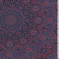 *1 1/2 YD PC--Plum Medallion Jersey Knit