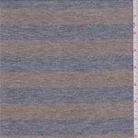 *2 1/2 YD PC--Heather Grey/Tan Stripe Sweater Knit
