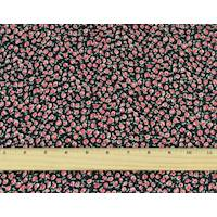 *2 YD PC--Rose Red/Black Floral Print Charmeuse