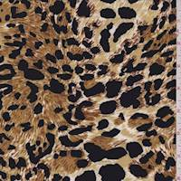 *7/8 YD PC--Camel/Gold Leopard Print ITY Jersey Knit