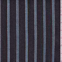 *2 YD PC--Black/Aqua/White Stripe Denim