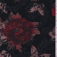 Black/Crimson Floral Jacquard Tapestry