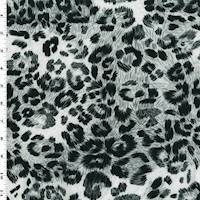 *2 YD PC--Black/Gray/White Leopard Print ITY Jersey Knit