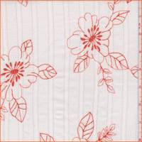 White/Orange Floral Crinkled Gauze