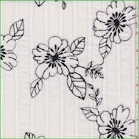 Ivory/Black Floral Crinkled Gauze
