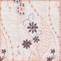 White/Orange Embroidered Floral Lawn