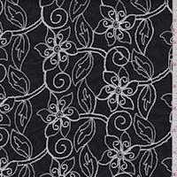 black/White Embroidered Floral Lawn