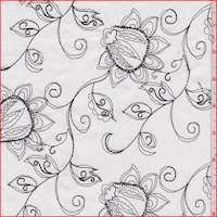White/Black Embroidered Floral Lawn