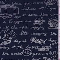 *3 1/2 YD PC--Navy Travel Print Slinky Knit