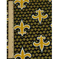 *2 7/8 YD PC--Black/Gold Yellow  Fleur De Lis Print Faille