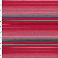 *2 7/8 YD PC--Red/Pink/Multi Cotton Stripe Shirting