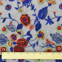 *1 YD PC--Blue/Orange/Multi Floral Embroidered Mesh
