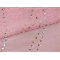 *2 3/4 YD PC--Pink/Holographic Silver Sequin Stretch Mesh