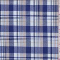 *1 YD PC--Royal/White/Beige Plaid Flannel