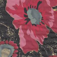 *4 3/4 YD PC--Poppies on Black Silk Crepe de Chine
